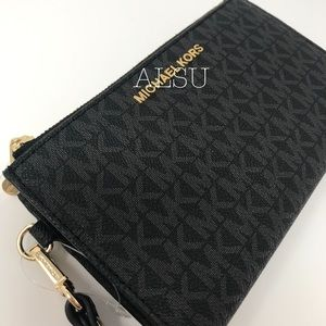 Michael Kors DoubleZip Wallet Mini Logo Black Gold